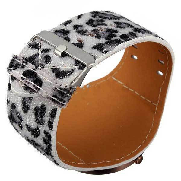 Caymandi Fashion Women Sexy Leopard Brilliant Crystal Fur Big Wrist Watch(China (Mainland))