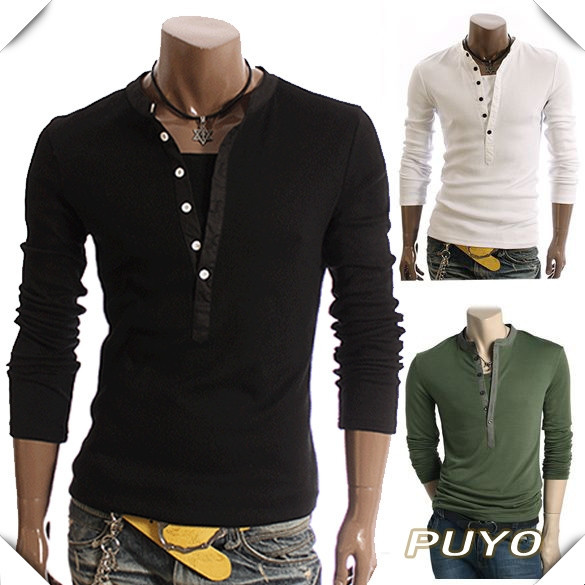 New men 39 s stylish casual best long sleeve t shirt tee fit for Best slim fit mens t shirts