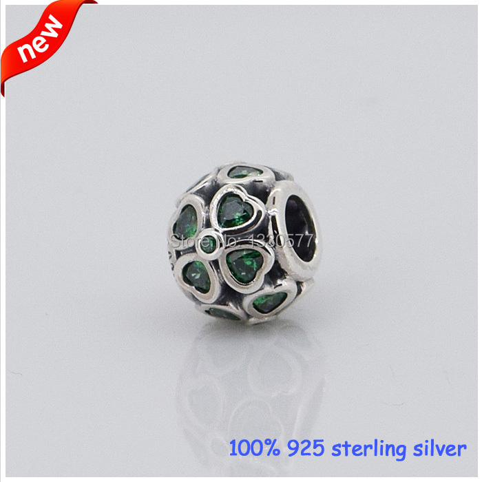 Original 925 Sterling Silver Jewelry Fit for Pandora bracelets Clover Charm With Dark Green Cz Diy Bead Wholesale F175(China (Mainland))