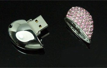 Guaranteed Full Capacity Crystal Heart of Love USB Flash Memory Drive  Free shipping