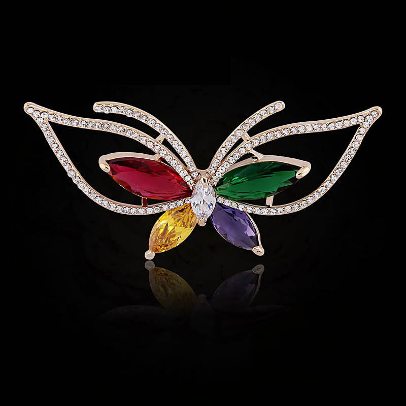 MENG Classic Floriform Cubic Zirconia Brooch Gold Plated Women Butterfly Brooches For Wedding Bouquets XZ081410<br><br>Aliexpress