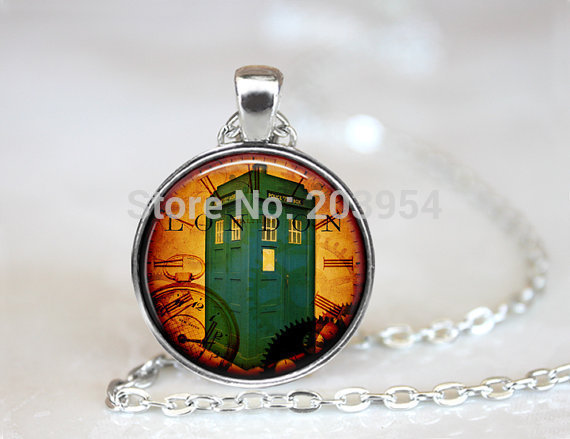 New 12pcs 25mm (1 inch) handmade movie Doctor Who Pendant, Tardis Necklace, Steampunk Time Machine Pendant, Doctor Who Jewelry<br><br>Aliexpress