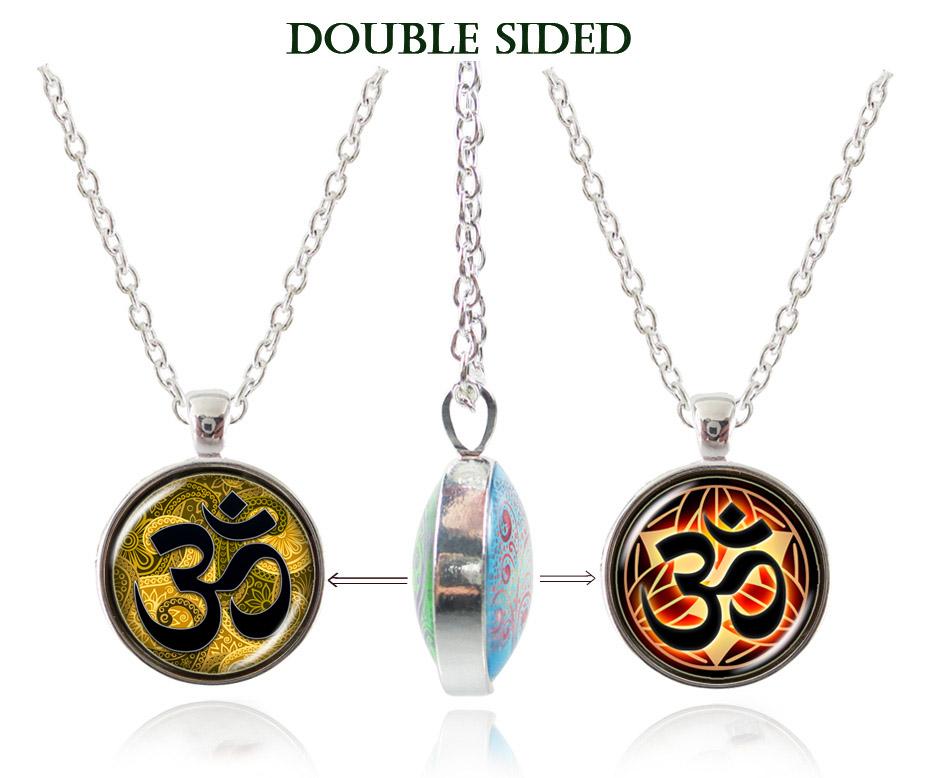Casual Yoga Om Necklace Handmade India Jewelry Mandala Llotus Pendant Double Sided Silver Necklace Buddhism Jewellery Wholesale(China (Mainland))