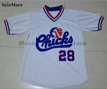 SexeMara Baseball Jersey #28 Bo Jackson Chicks Baseball Jersey Movie Jersey American Baseball Jersey Throwback Short Sleevele(China (Mainland))