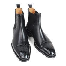 VIKEDUO Sonbahar Yeni erkek Chelsea Çizmeler Slip-on Siyah Hakiki Inek Deri El Yapımı Brogue Patina Blake Ayak Bileği Deri çizmeler Erkekler Için(China)