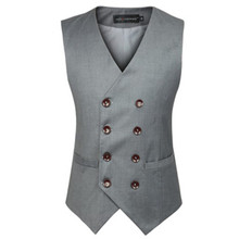 New Fashion Male British Style Slim Cotton Double Breasted Grey Black Sleeveless Jacket Waistcoat Suit Vests Mens Vest