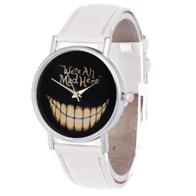 1PC Women Men personality watch Leisure Time Faux Leather Analog Smiling Face Wrist Watch relogio feminino Dropshipping NMZ16(China (Mainland))