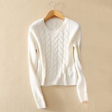Fashion women's 100% cashmere knitting pullover sweater with longer back hem O-neck long sleeves