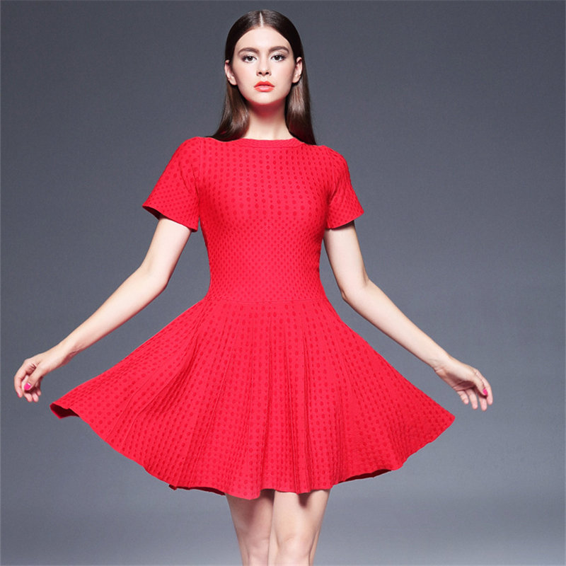 2017 summer new red plus size high waist female A-Line dress bottoming short-sleeved knit dress women's boutique MZ554(China (Mainland))