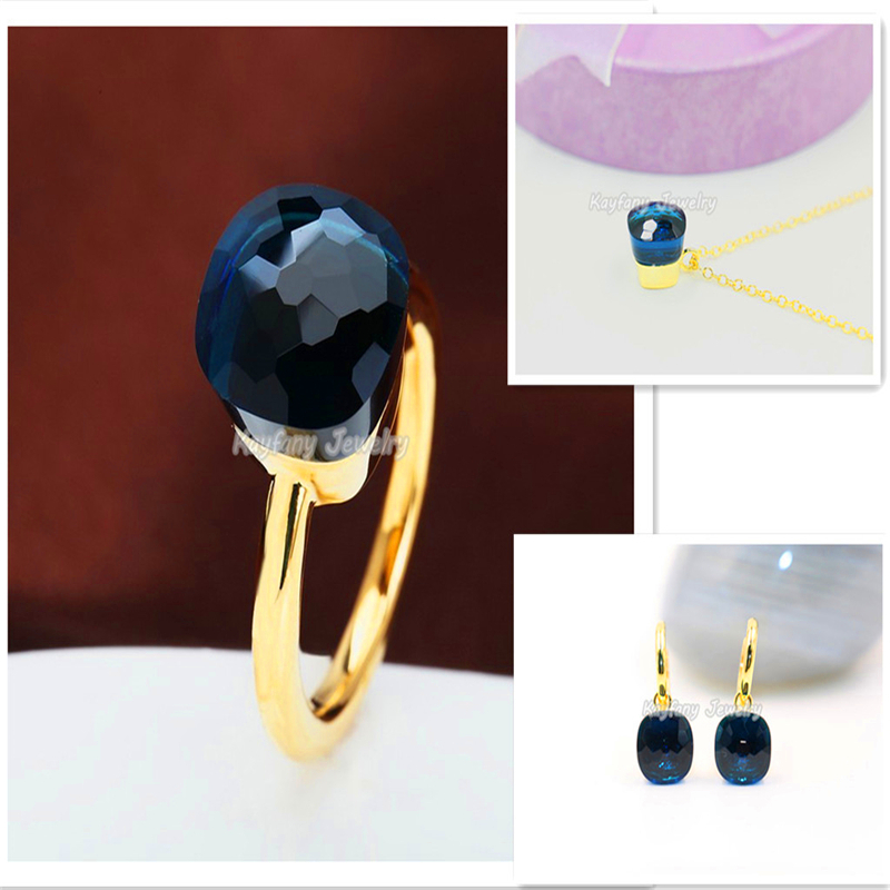 Fashion Sapphire Jewelry Pomellato 18K Gold Royal Blue Crystal For Women Vintage Rings Of Wedding Christmas Bijoux Bagues Femme