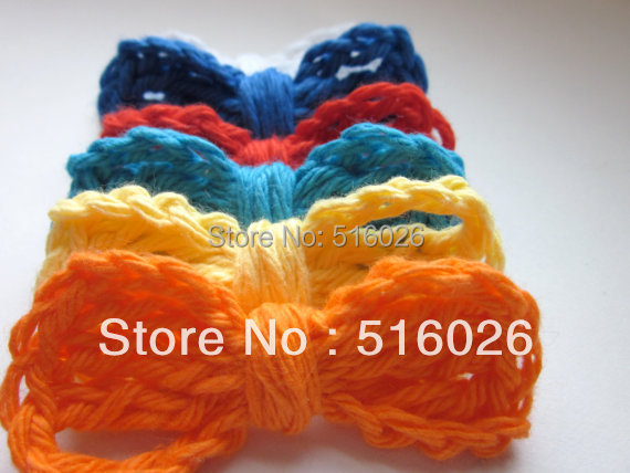 wholesale 100pcs/lot Crochet Applique Bows Bright Warm Colors cap headband scrapbooking sewing trim bows boutique DIY handcraft