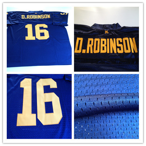 #16 D.Robinson jersey,Blue Embroidered jersey men,Best quality,Authentic Jersey,Embroidery Logo,Free shipping(China (Mainland))
