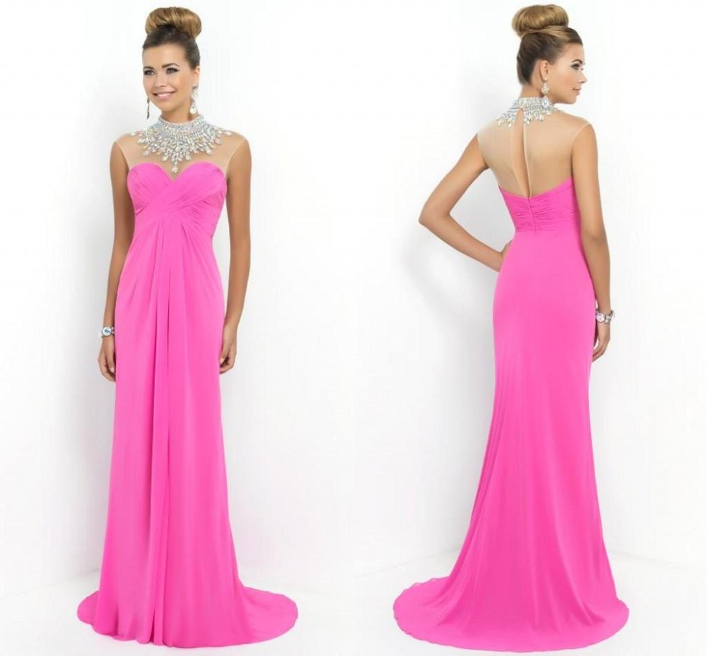 Cheap high neck long straight prom dresses 2015 blush for Long straight wedding dresses