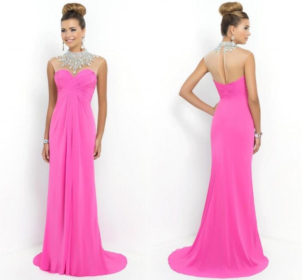 Cheap High Neck Long Straight Prom Dresses 2015 Blush