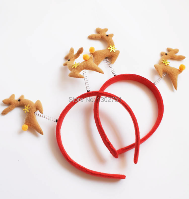 Retail Christmas Santa Claus and Deer Headwear hairwear Head Band Kids Christmas Party Supplies Decoration toy Gift(China (Mainland))