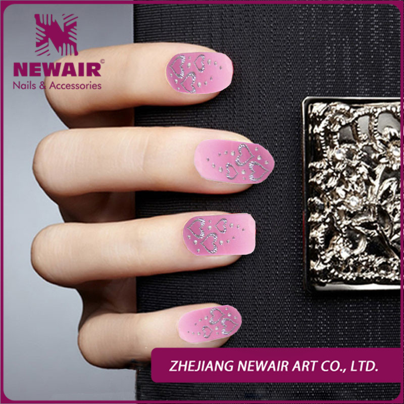 Free shipping Lovely styles pink heart design silver metal nail foil stickers full cover nail art wraps sticker /nail decal(China (Mainland))