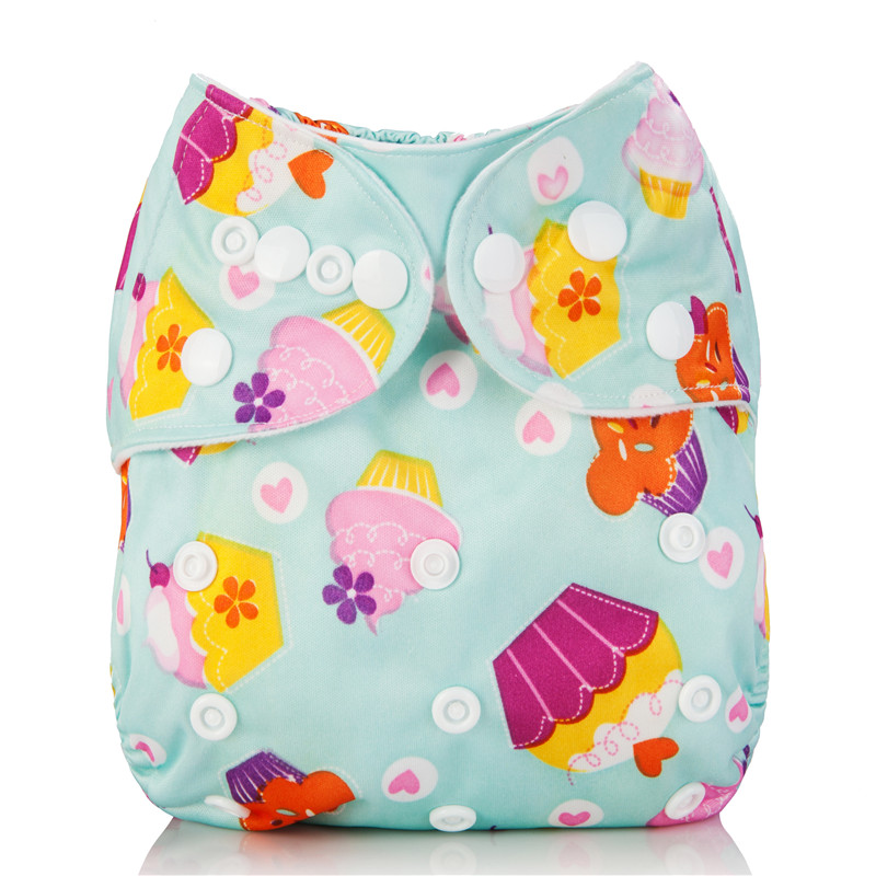 1Pcs Baby Cloth Diaper Cover Adjustable Washable Cloth Nappy Reusable Nappies Pocket Carton Ice Cream Cake Newborn Infant Nappy(China (Mainland))