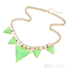 2014 New Fashion Womens Vintage Unique Jewelry Gold Metal Necklace Triangle Gems Pendant Chain Necklace 1D2D