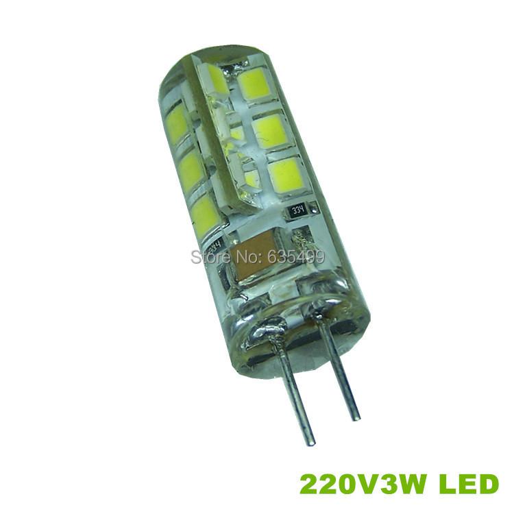220V G4 led bulbs 3W 10pcs/lot Silicon lamps spotlight candle smd2835 light bulb non-polar freeshipping(China (Mainland))