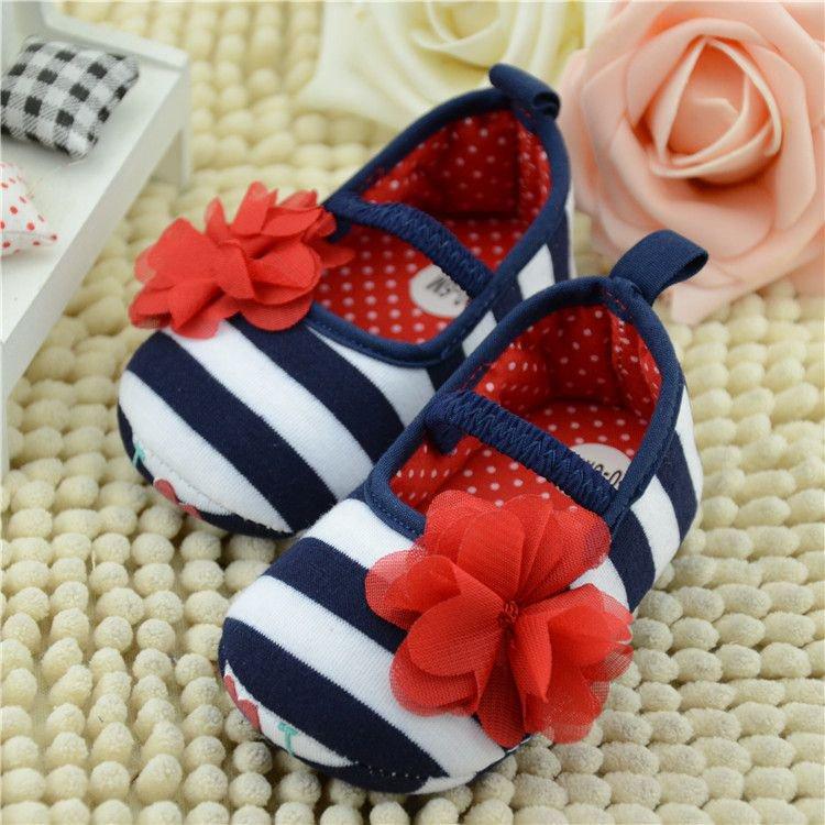 Newborn Baby Girls Zebra Strip First Walkers Infant Baby girls Flower Sapatos bebe Menina Red Flower Bow Baby shoes(China (Mainland))
