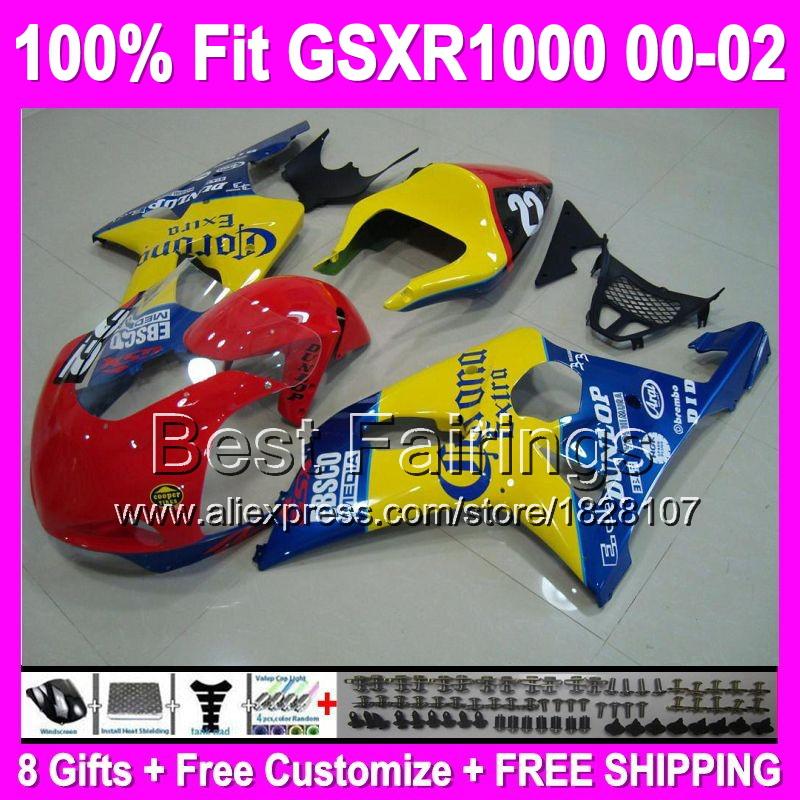 Racing 100% OEM For SUZUKI GSX-R1000 K2 00 01 02 GSX R1000 K2 red yellow blue 2000 2001 2002 710 GSXR1000 Fairing Kit+8gifts(China (Mainland))