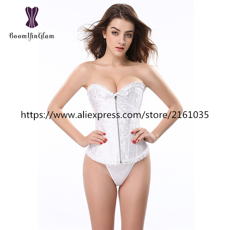 819# high quality zipper front overbust corset & bustier ruffled corset with G string(China (Mainland))