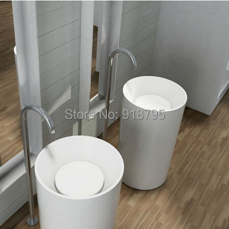 Corian bathroom pedestal wash basin freestanding solid for Corian sink accessories