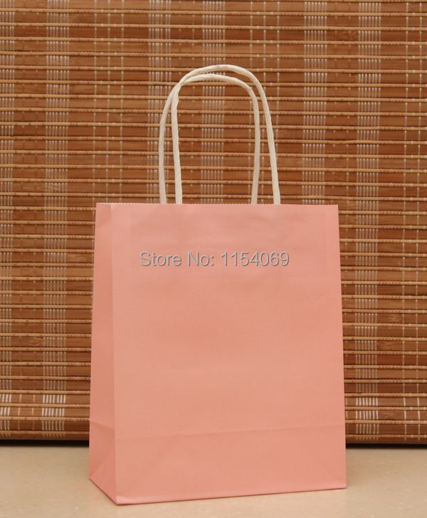 Free Shipping Pink Paper Handled Kraft Paper Jewelry Gift Packaging Shopping Bags For Boutique, 90pcs/lot 18x15x8cm(China (Mainland))