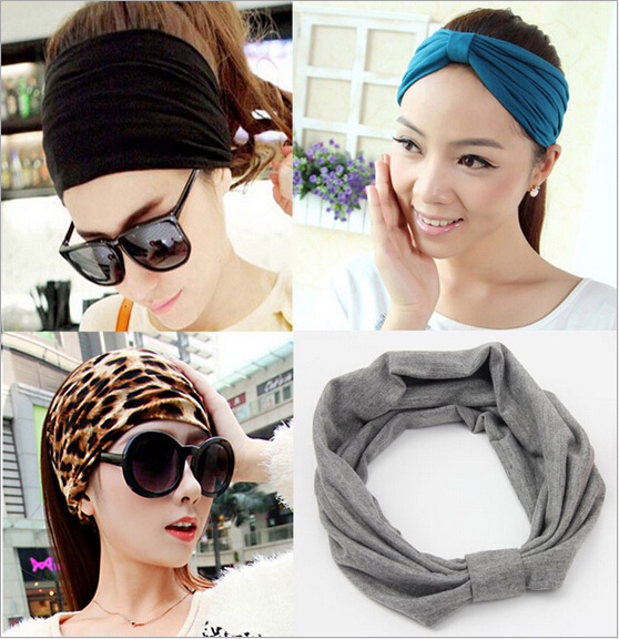 2015 new korean wide soft elastic headbands sports yoga for women adult girls lady head wraps hair band turban accessories tiara(China (Mainland))