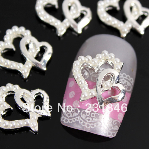 2Faux Pearl Double Heart Design Silver 3D Alloy Rhinestones Nail Art Tips Slices Decoration Decal Phone DIY UV Gel 11X10mm - SuQing Zhang's store