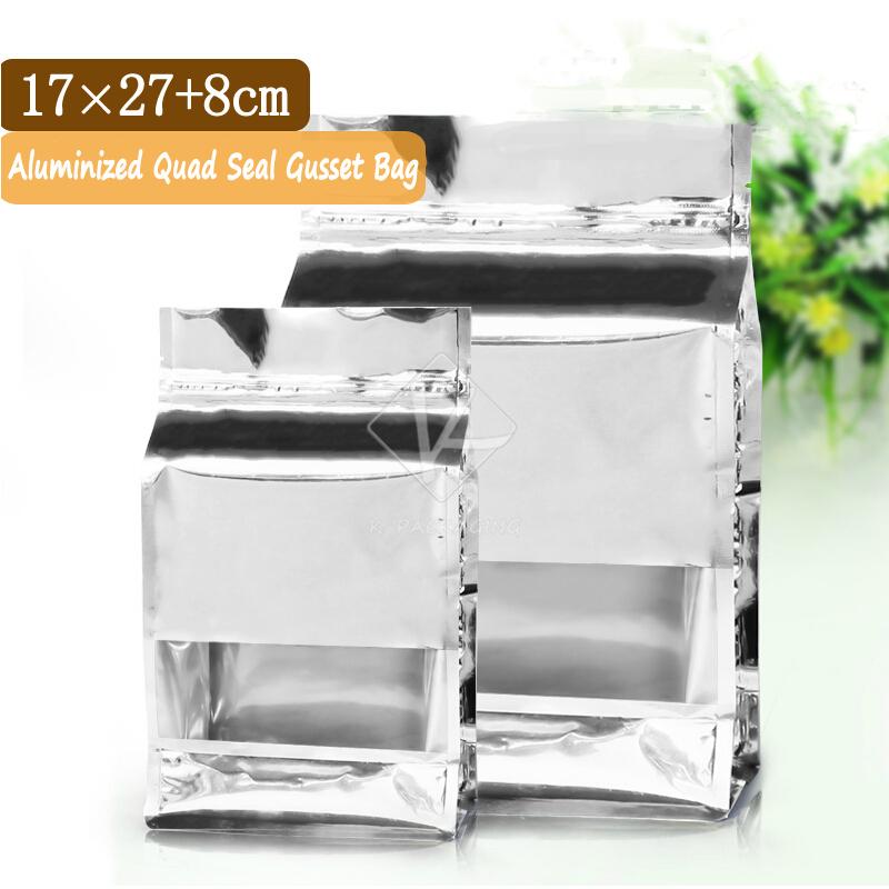 2015 Hot Sale 20 PCS 17x27cm Quad Seal Flat Bottom Bags Aluminium Foil / Foil Dry Food Packaging / Ziplock Foil Bags(China (Mainland))