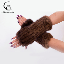 15 New Imported Mink Knitted Gloves Mink Knitted Gloves Elastic Half Refers To The Wristbands Female Fur Gloves(China (Mainland))
