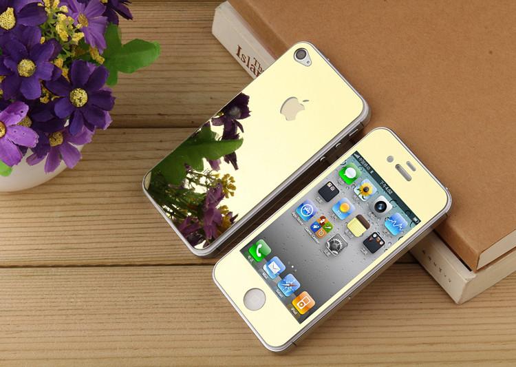 Зеркало закаленное стекло для iPhone 4 4 г 4S гальваника переднюю и заднюю протектор защитная пленка закаленное стекло золото