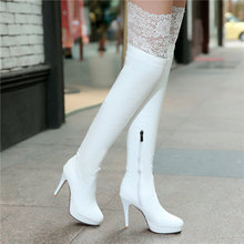 2015 New Women Shoes Red Bottom Thigh High Boots Platform Thin Heels Sexy Fashion Over the Knee Boots Plus Size White Black