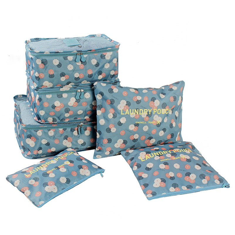 6 Pcs Print Travel Suitcase Closet Divider container Storage Bag Set For Clothes Tidy Organizer Packing Cubes Laundry Bag(China (Mainland))