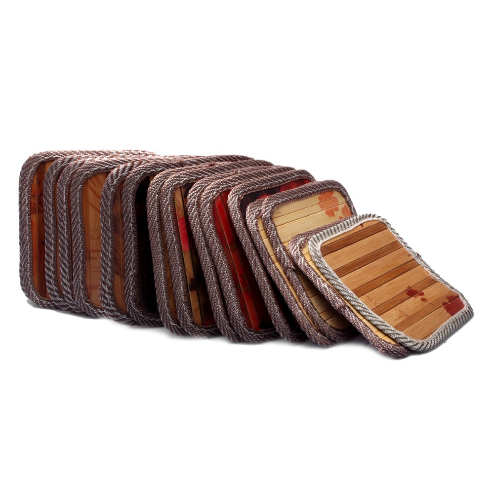 10pcs/lot 2015 Promotion New Arrival Colorful Color Bamboo Placemats Coasters Potholder Dishes Mat Insulation(China (Mainland))
