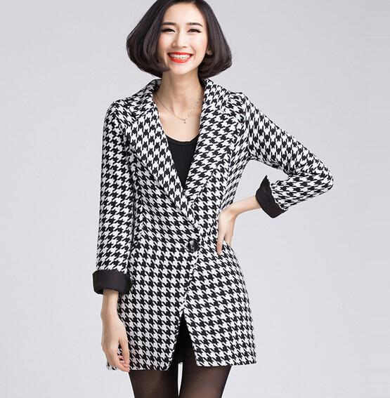 plus size women s winter new Korean Slim Houndstooth buckle in a long coat jacket
