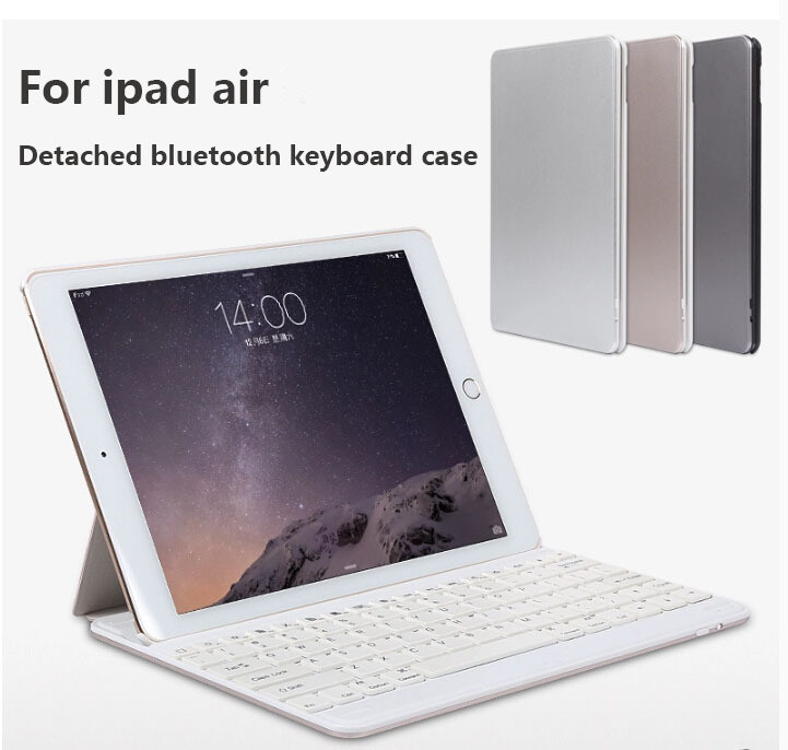 Slim Detachable Bluetooth Keyboard Case for IPad Air 1 2 Wakeup/Sleep Funcation Leather cover + Aluminum cover for IPad Air Air2(China (Mainland))