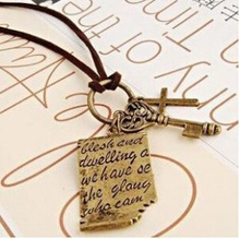 XL293 2015 New Fashion Shakespeare love letter cross leather cord necklace key retro sweater chain Jewelry Wholesale(China (Mainland))