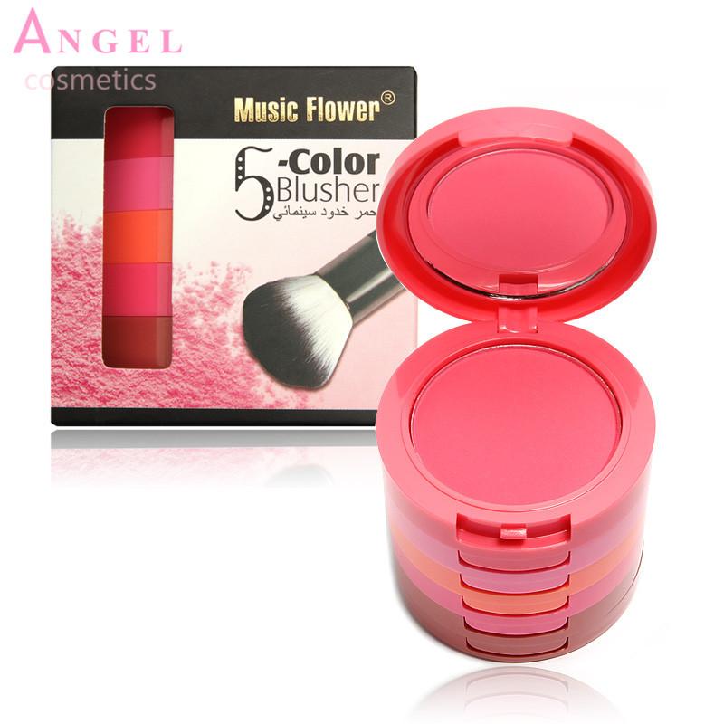 1 SET  Brand Makeup Professional Make Up 5 Colors Makeup Blush Face Blusher Powder Palette Cosmetics Free Shipping  M2089(China (Mainland))