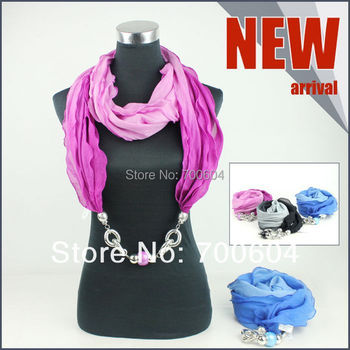 2014 New TV Fashion  ladies girls charm jewelled jewelr pendant Jewelry Necklace Yarn wraps Scarves for women factory supplier