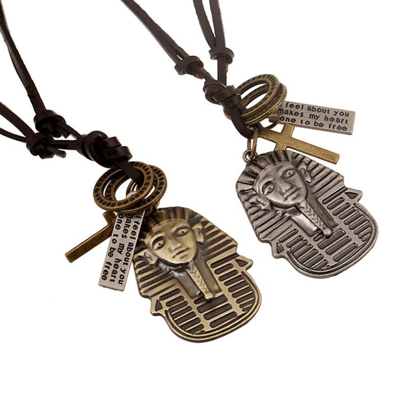 1 PC Wholesale Promotion Vintage Leather Necklace Unisex Women Men Long Egyptian Pharaoh Cross Pendants Necklaces Ethnic Jewelry(China (Mainland))