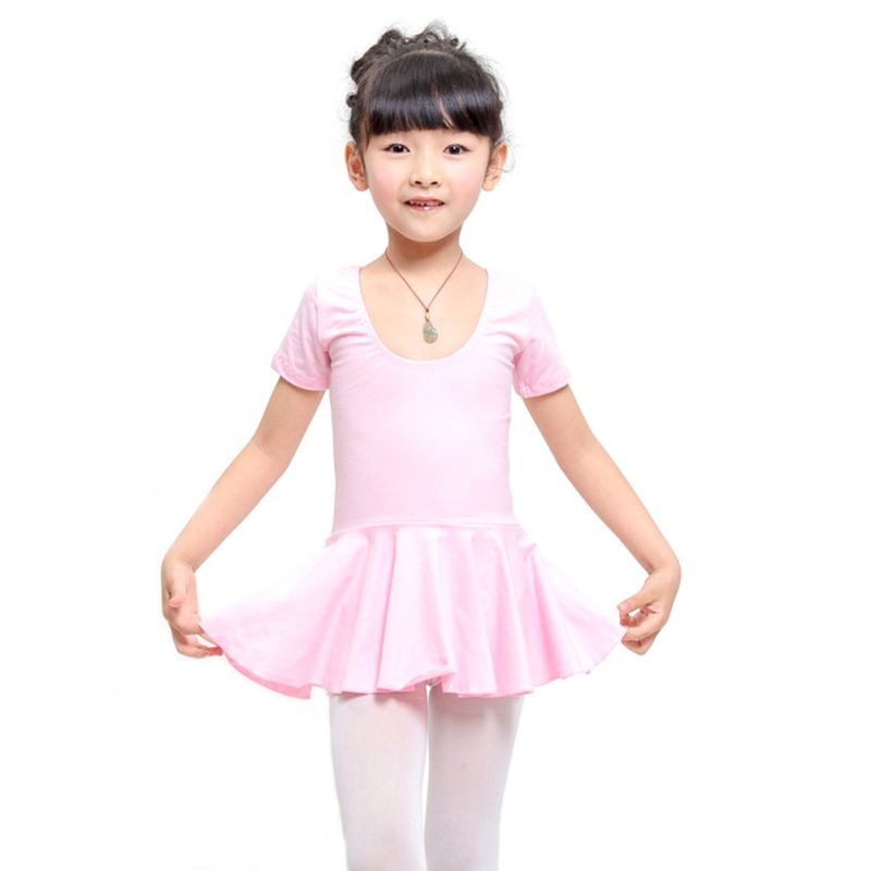 Kid Girls Short Sleeve Leotard Gymnastics Ballet Dance Dress Dancewear 4-12Years B21(China (Mainland))