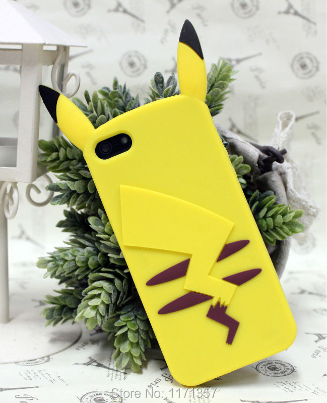 Japan Anime 3D Yellow Pikachu Silicone Soft Rubber Cover Case iPhone 5 5S - Always See You store