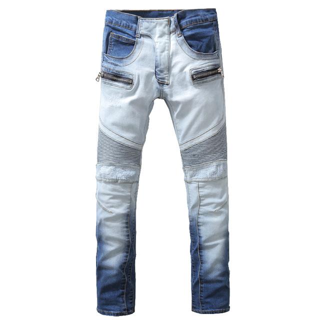 Мужская мода бледно-голубой байкер джинсы мужчина джинсы Женские случайные отверстия ...