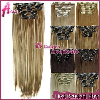Кусок волос 23 дюймов 140g Прямые 16 клипов в искусственных волосах Стайлинг синтетический ...