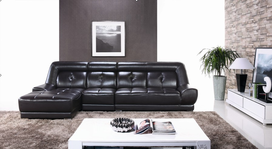 Elegant Black Color Modern Latest Corner Sofa Design
