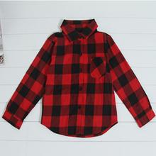 Retail wholesale 2015 age season boy plaid shirt girl plaid shirt slim long sleeves Fashionable dress Warm shirts Free shipping