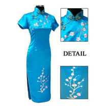 Buy Blue Chinese Traditional Embroidery Dress Women Silk Satin Cheongsam Long Qipao Summer Flower Dress Size S M L XL XXL XXXL 0713 for $21.27 in AliExpress store