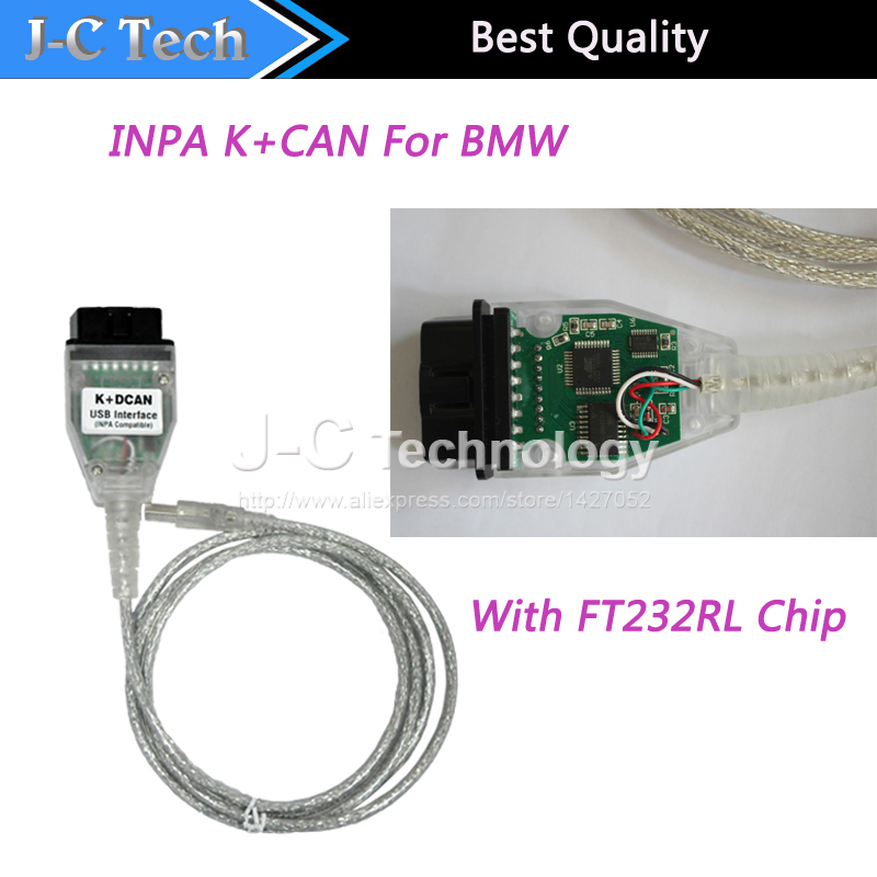 Free Shipping OBD2 to USB interface TOOL With FT232RL Chip For BMW INPA K+DCAN(China (Mainland))